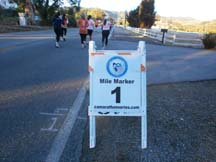 Mile marker one of the Morgan Hill Marathon. Photo by Alheli Curry.