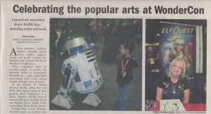 Top half of scan of WonderCon article by writer Angela Young