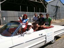 Photo of the Morgan Hill Freedom 5K winners in the parade