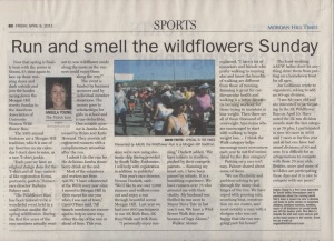 Scan of an article about the Wildflower Run in the Morgan Hill Times by writer Angela Young