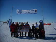 Sarah Oliphant at the finish line in Antartica