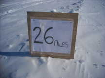 The final mile marker in the Antartic Ice Marathon