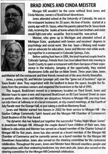 Article about Brad Jones and Cinda Meister by writer Angie Young