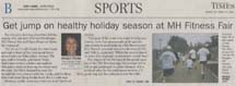 Scan of sports article by writer Angela Young