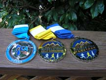 Photo of Morgan Hill Marathon medals by Angela Young