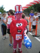 Angela Young dressed as a big heart for the Freedom 5K run in Morgan Hill