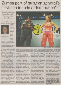 Top of scan of Zumba article  by Angela Young