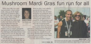 Scan of article in the Morgan Hill Times about the Mushroom Mardi Gras by writer Angela Young