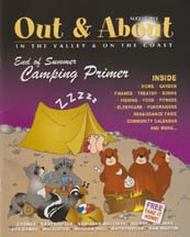 Cover for out & about magazine containing article by writer Angela Young
