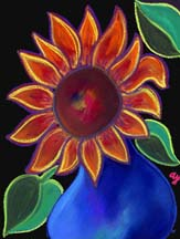 "Scan of painting ""Sunflower in Blue Vase"" by artist Angela Young"