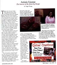 Scan of the June 05 Artistic License column by writer Angie Young