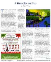 Scan of an article by Angeie Young in the May 2008 issue of Out and About the Valley Magazine