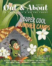 Cover of out & about magazine, article by writer Angela Young
