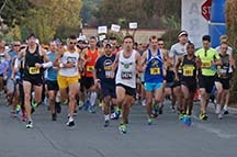 Runners at the start line of the Morgan Hill Marathon