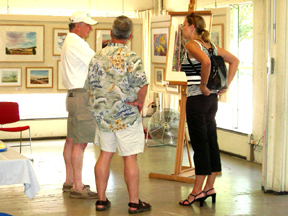 Customers at the Pacific Art League